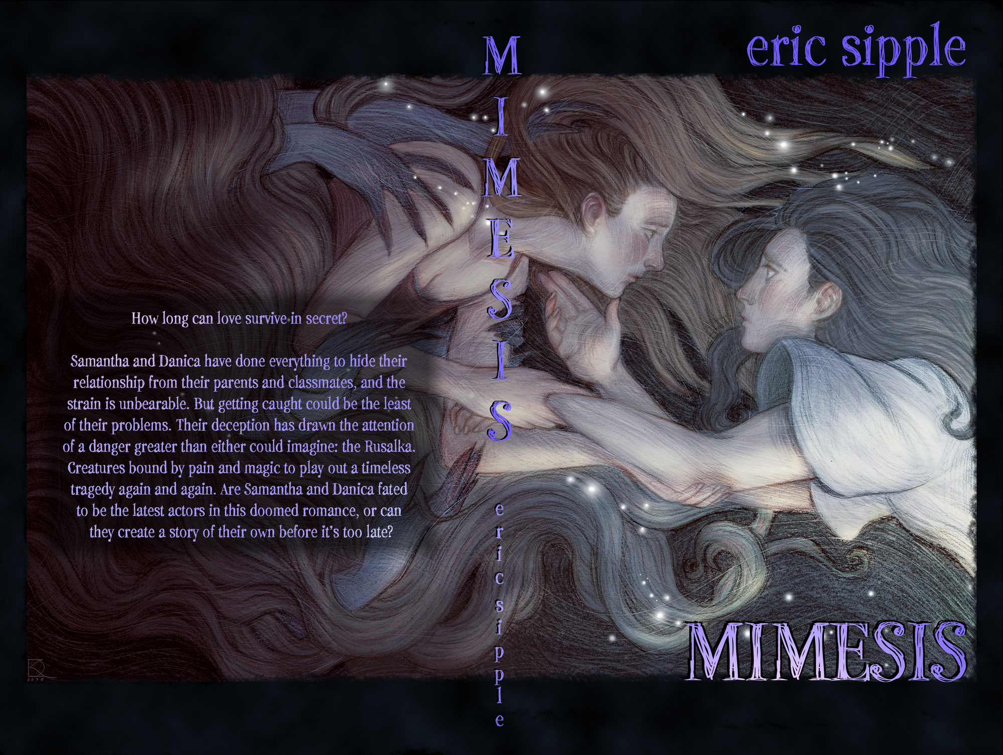 The book cover for MIMESIS. Two girls underwater, one being dragged backwards by monstrous hands, the other trying to hold on as she's pulled away.